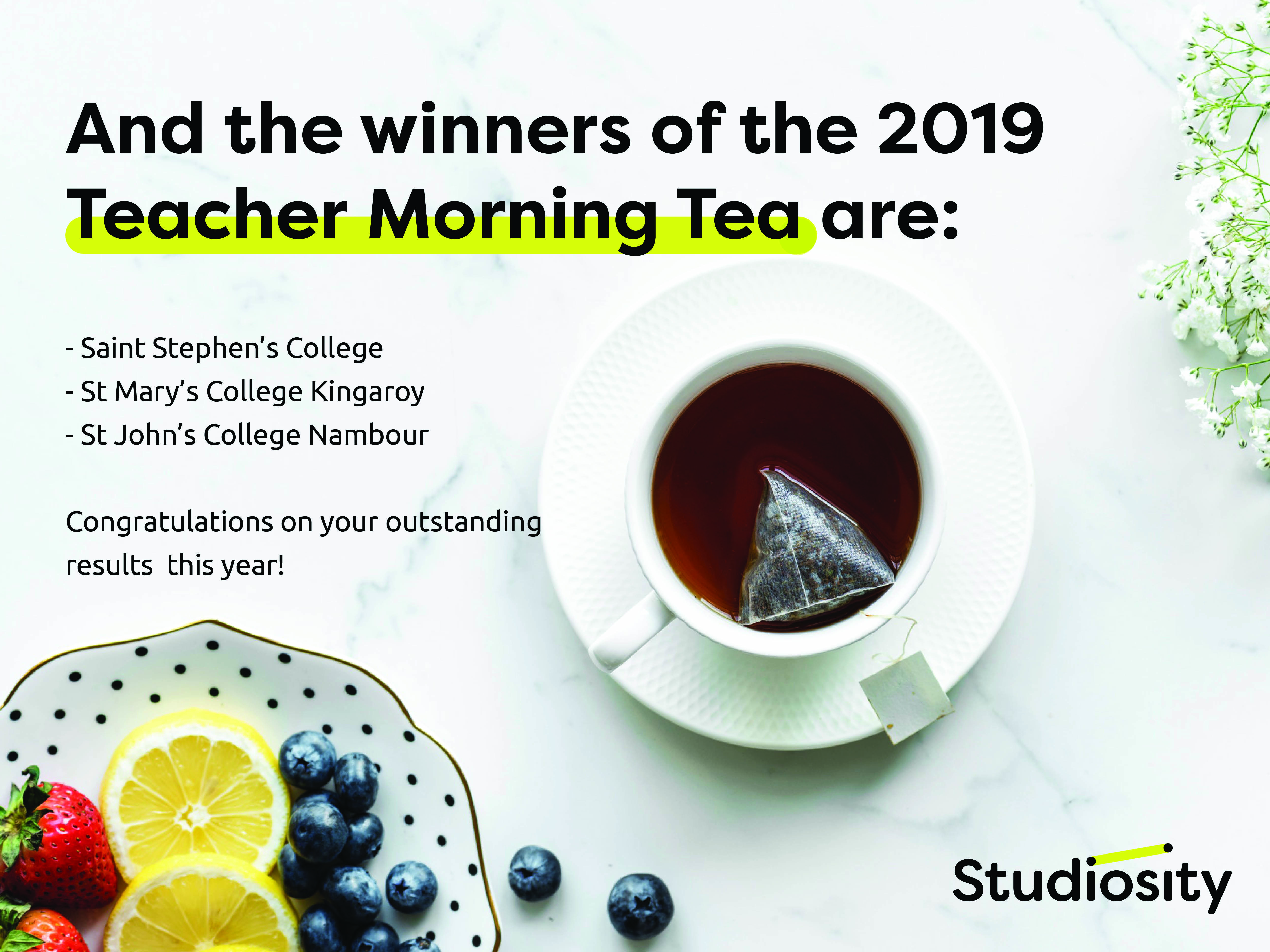 2019 Teacher Win a Morning Tea results2