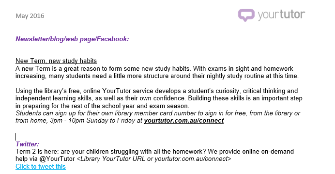 YourTutor copy for digital channels - libraries
