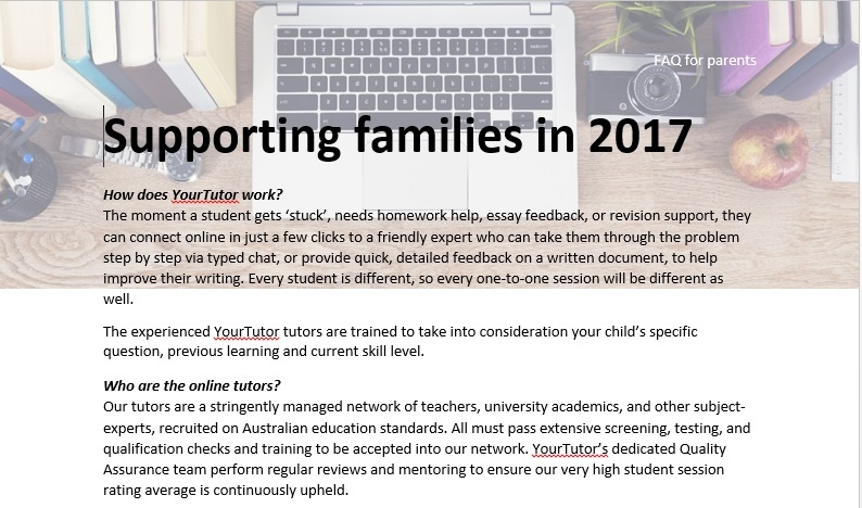 Printable flyer for parents