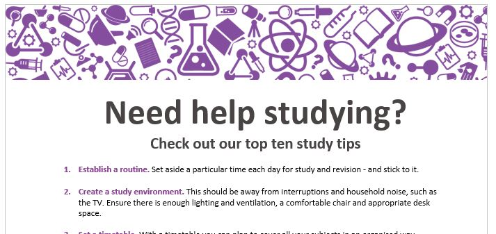 Study tips flyer for students