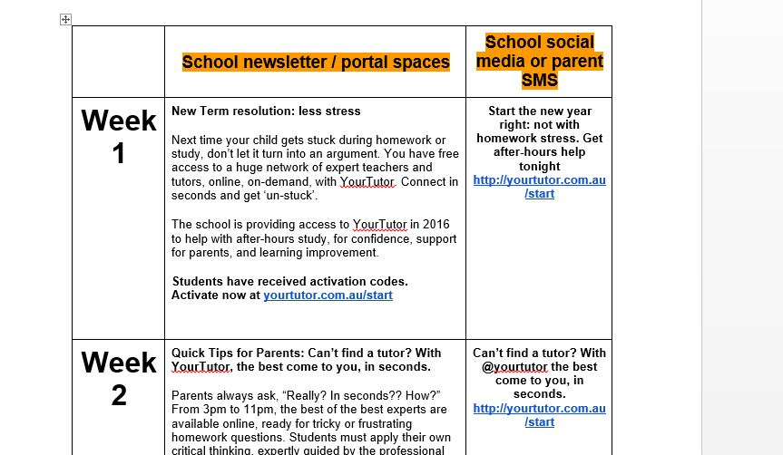 School newsletter content per week