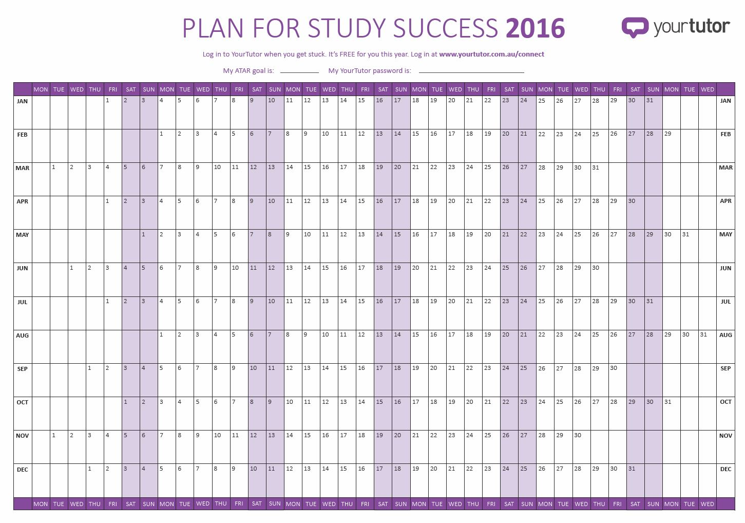 2016 Study wall planner for students