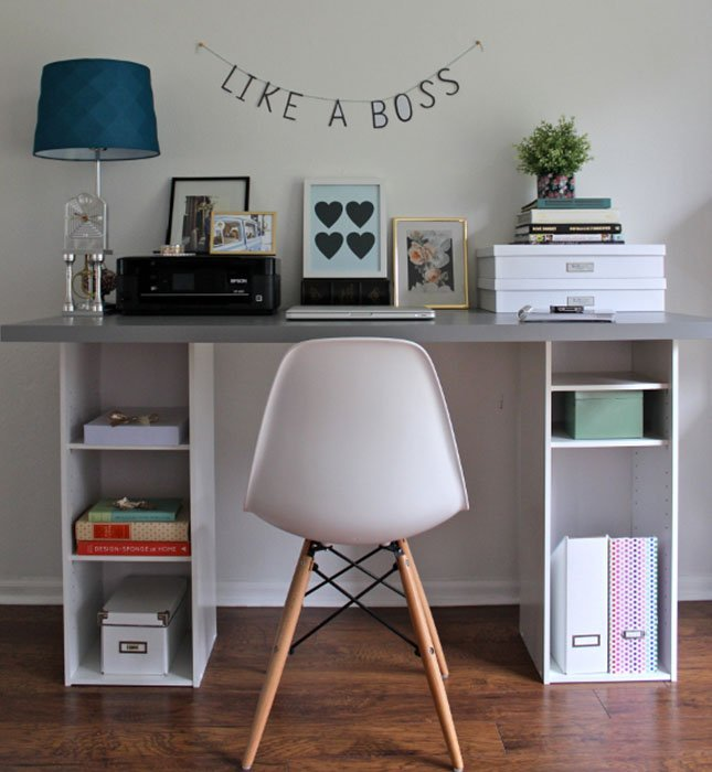 Neat, organised study desk and chair, with a sign above the desk saying 'Like a boss'.jpg