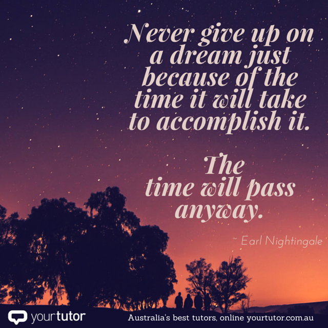 Never give up on a dream just because of the time it will take to accomplish it.png