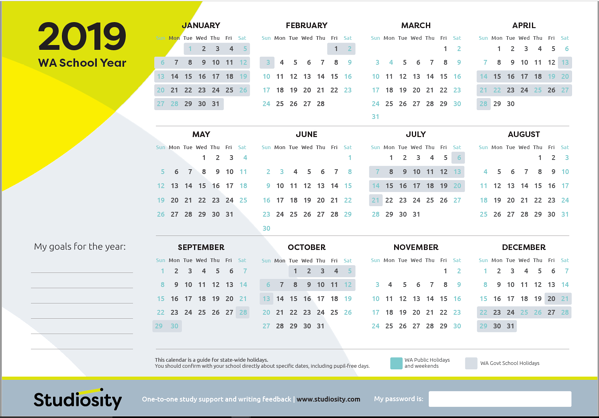 2019 Calendar Wa School terms and public holiday dates for WA in 2019 | Studiosity