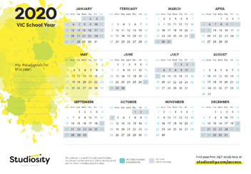 2020 Calendar - VIC Studiosity