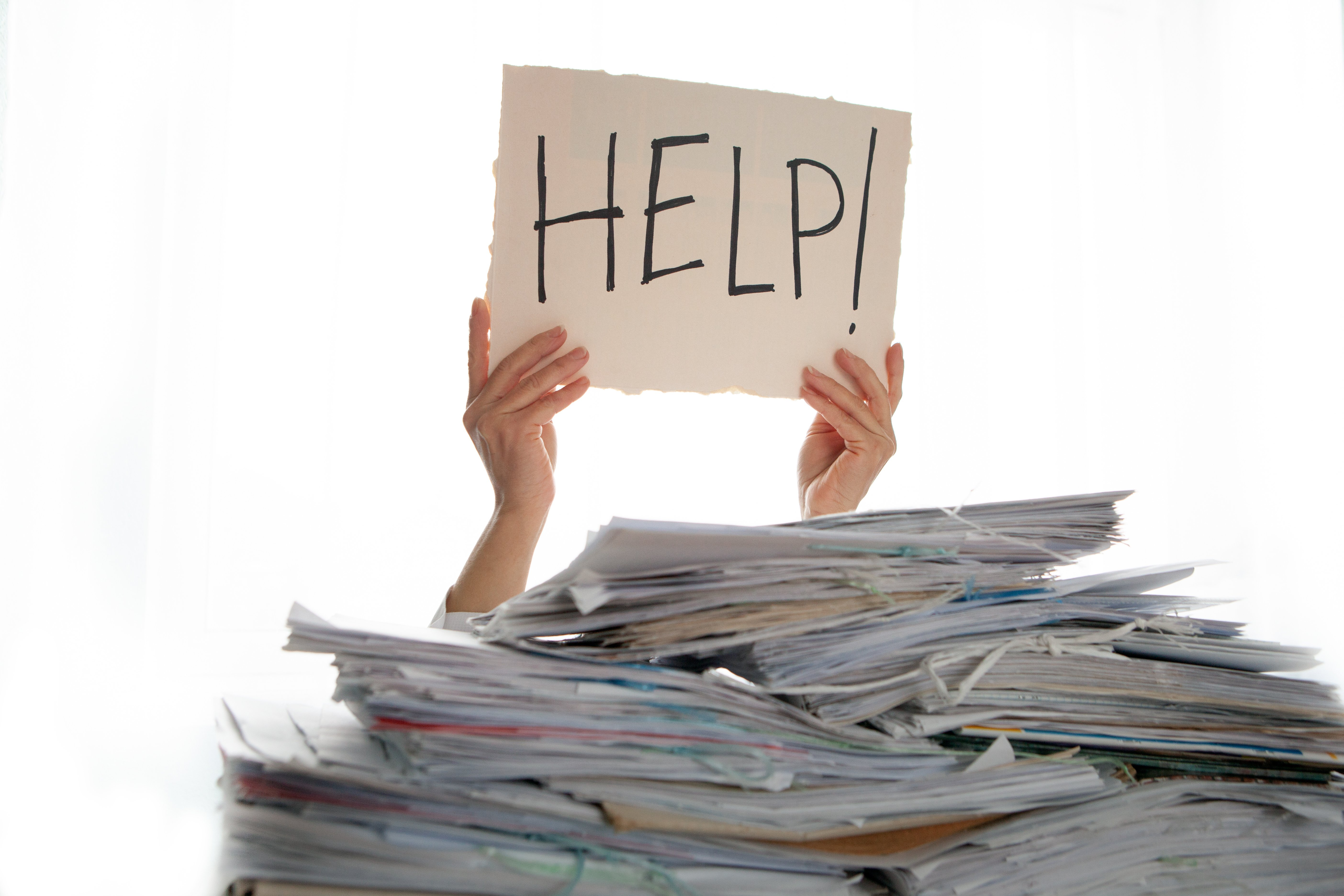 student-help-sign-pile-papers