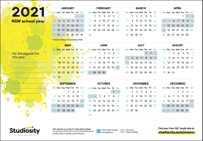 NSW 2021 calendar preview image