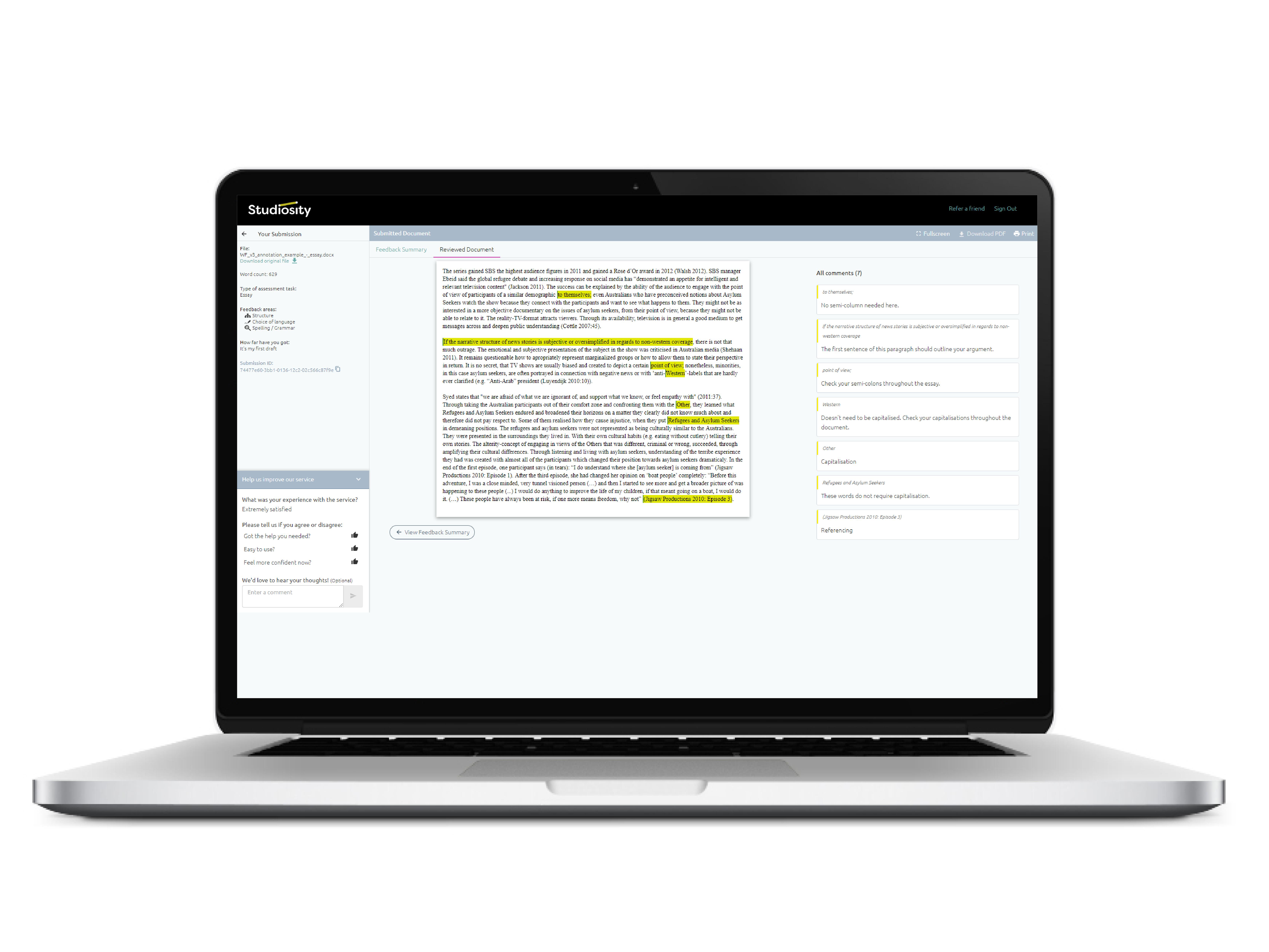 Writing Feedback laptop screen